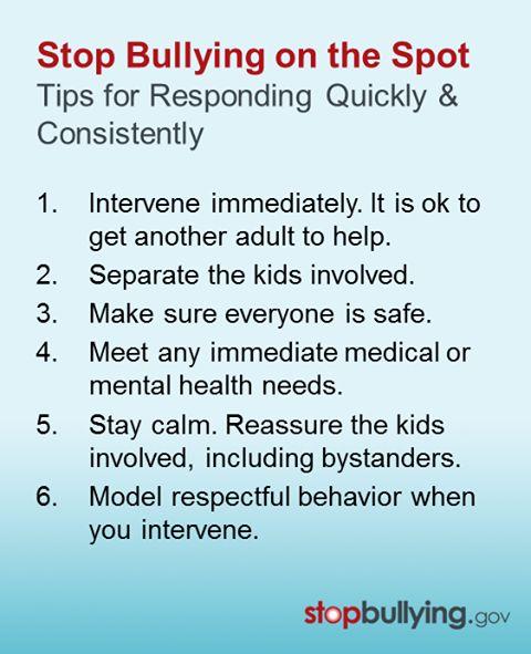 """Publicado por StopBullying.Gov:  El problema del """"bullying"""" ha tomado dimensiones globales. No es fácil, pero los adultos tenemos que comprometernos a tomar acciones. Cuando los adultos responden rápida y consistentemente a acciones de """"bullying"""", están dando el mensaje de que esa conducta es inaceptable. ¿Cuántas de las acciones enumeradas en el cuadro adjunto, has tomado alguna vez para detener el """"bullying""""? El compromiso de los que trabajamos con niños y adolescentes debe ser mucho…"""