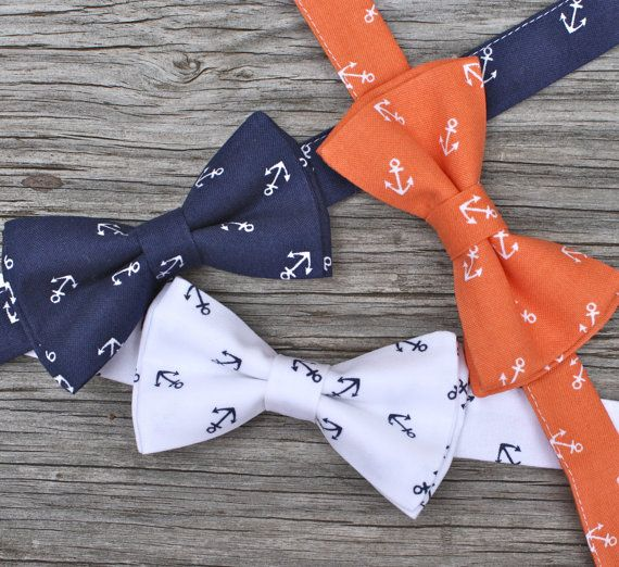 Coastal and preppy?!?! I think I need one! Navy Bowtie Anchor Bow Tie Nautical Tie