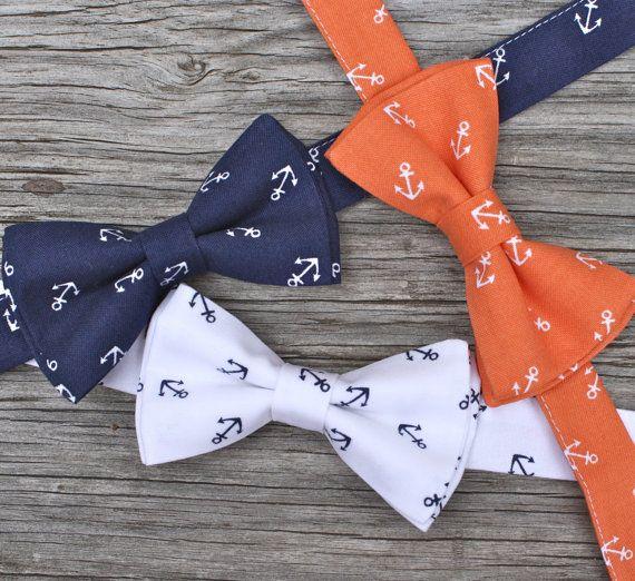 Coastal and preppy?!?! I think I need one! Navy Bowtie Anchor Bow Tie Nautical Tie