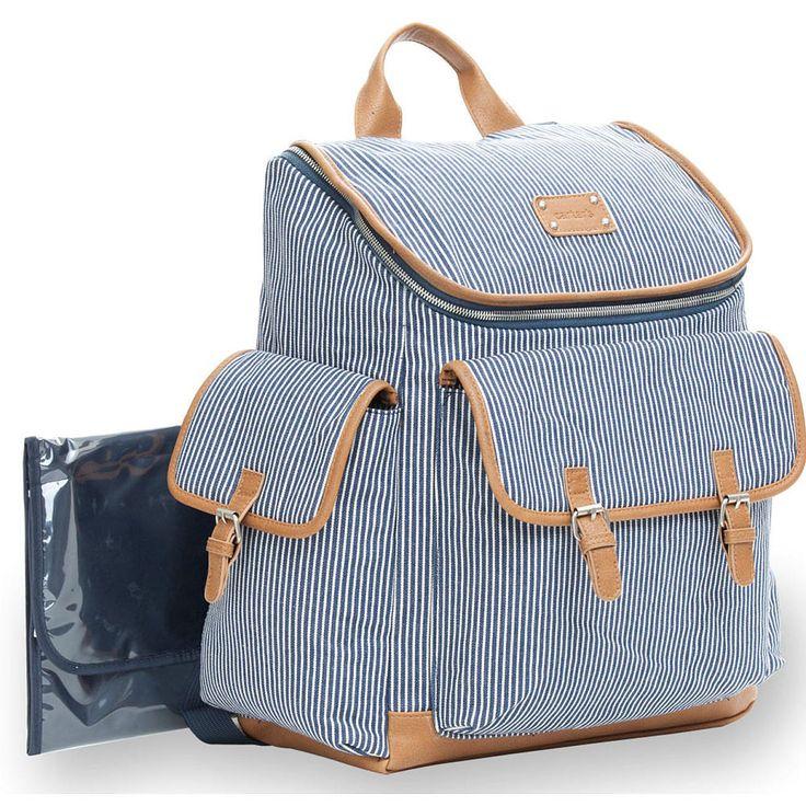 Carter S Baby Go Ticking Stripe Backpack Diaper Bag In