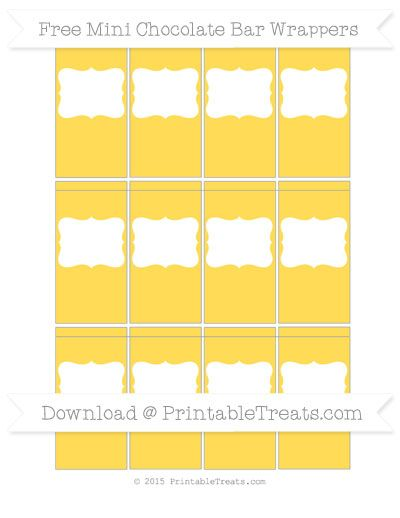 Free mustard yellow diy mini chocolate bar wrappers bee for Free mini candy bar wrapper template