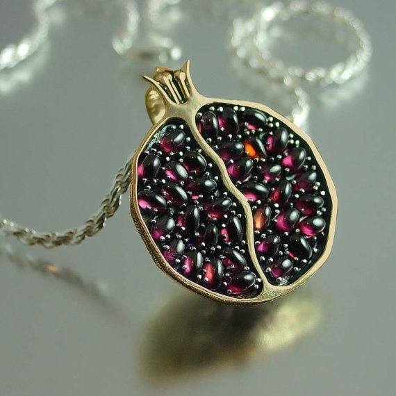 JUICY POMEGRANATE bronze and silver garnet pendant