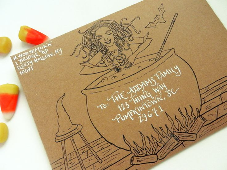 Witch and Cauldron DIY Envelope Template | The Postman's Knock