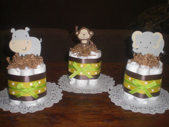 Jungle  and Monkey Diaper Cakes