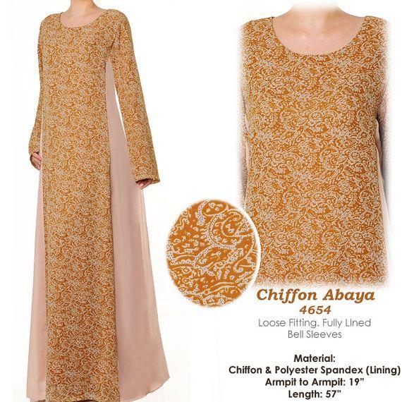 Loose Chiffon Batik Print Islamic Abaya Long Sleeves by MissMode21, $32.00