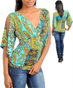 C101-B-T3420 AQUA LIME ORANGE TOP $24.50: Top 24 50, Orange Paisley, Paisley Print, C101 B T3420 Aqua, Print Slit, Orange Tops