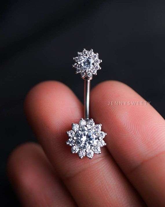 CZ belly ring, flower belly button ring, belly piercing, belly jewelry, lotus…