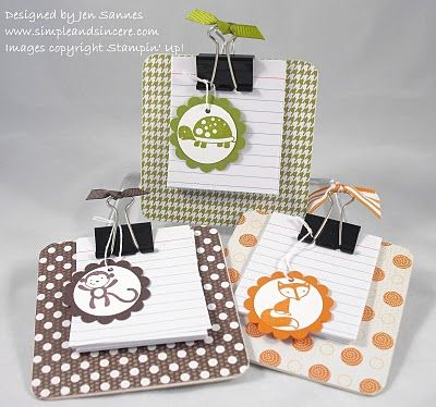 I MUST make these!   these would be secret pal gifts, you could use recycled paper OR your left over notecards :)