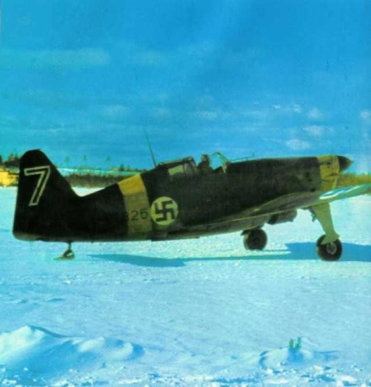 Finnish MS.406 fighter preparing to take off from a snowy field, Viitana, Karelia, Russia, winter 1941-1942