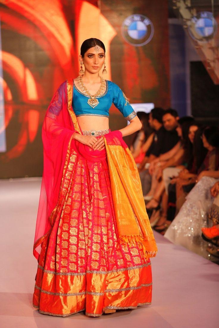 Pink Silk Sequins Kanjivaram Lehenga With Blouse #bandbaajaa.com…