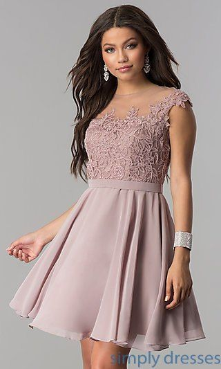 783034f836 Shop short chiffon prom dresses with lace applique at Simply Dresses.  Semi-formal party dresses under $100 with illusion necks and a-line skirts.
