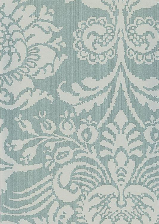 Romany Damask Wallpaper Duck Egg White Damask Design Printed On Aqua Strie