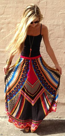 Absolutely in love with this entire outfit. Aztec full maxi skirt and black spaghetti strap