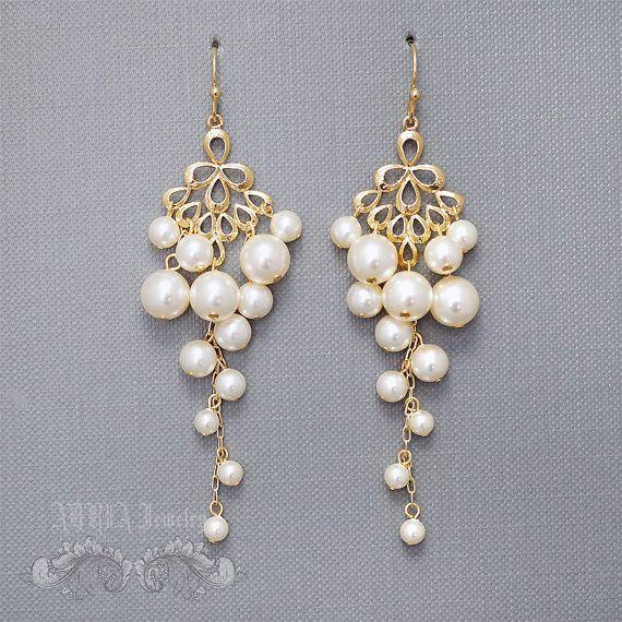 Bridal Chandelier Earrings Pearl Wedding Earrings by adriajewelry