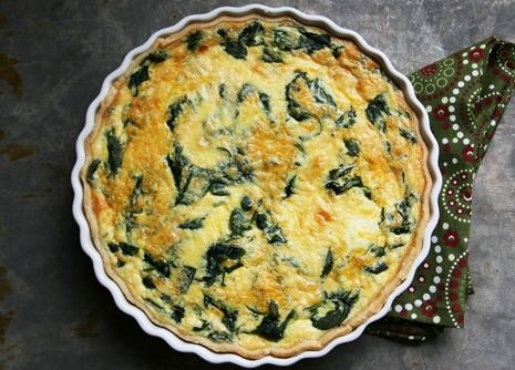 Spinach Ricotta Quiche With Unbaked Pie Crusts, Spinach, Heavy Cream, Eggs, Ricotta Cheese, Cheddar Cheese, Salt, Pepper