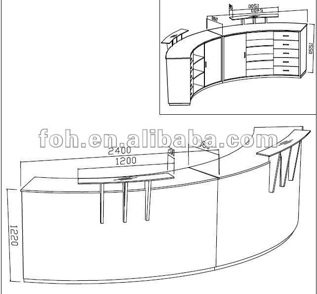 Round reception desk high end wooden veneer custom design and manufacture reception furniture