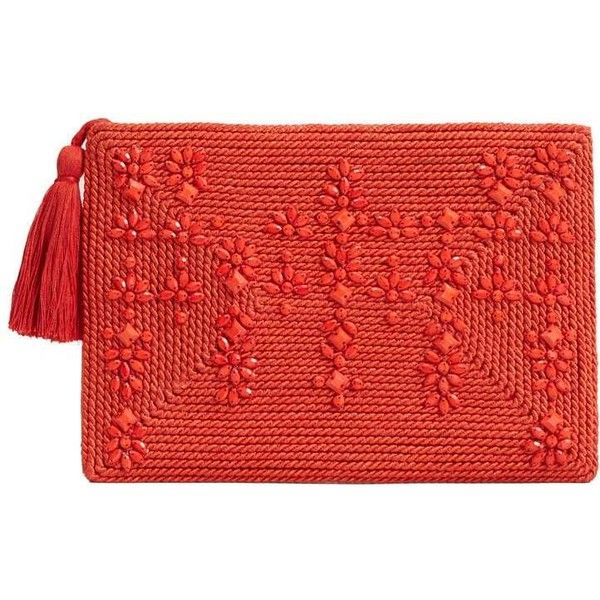 Beaded Panel Clutch ($46) ❤ liked on Polyvore featuring bags, handbags, clutches, zip purse, zipper purse, red purse, embellished purse and mango handbags