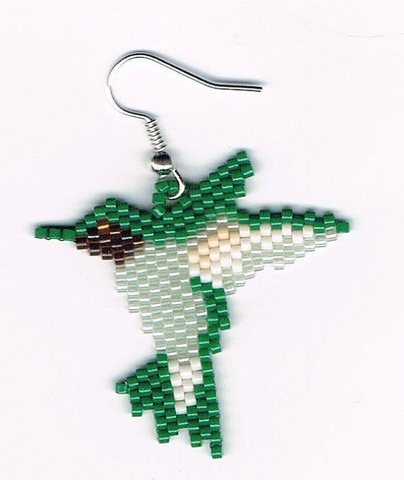 Hand Beaded Hummingbird Dangling earring  number 8 by beadfairy1, $10.00