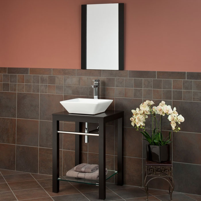 """22"""" Lahoma Console Vanity with Vessel Sink and Mirror"""