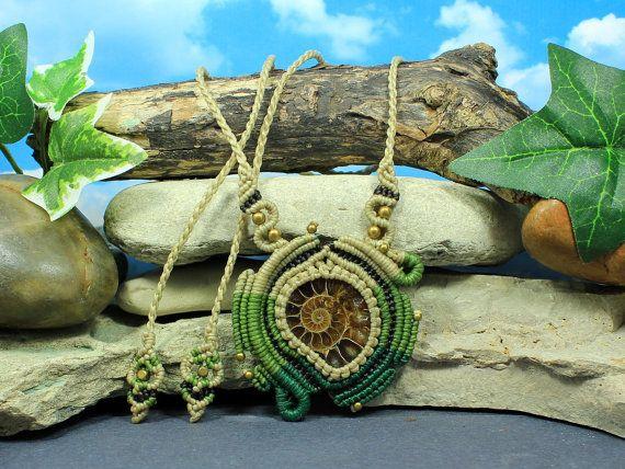 Ammonite Prana necklace  green and natura tan by MundialTreasures