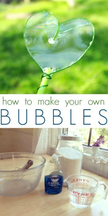 HOW TO MAKE HOMEMADE BUBBLES  INGREDIENTS  4 cups warm water 1/2 cup sugar 1/2 cup Dawn dish soap INSTRUCTIONS  1. Whisk the sugar into the ... fun kids crafts, kid ideas, #kids #diy kids diy ideas