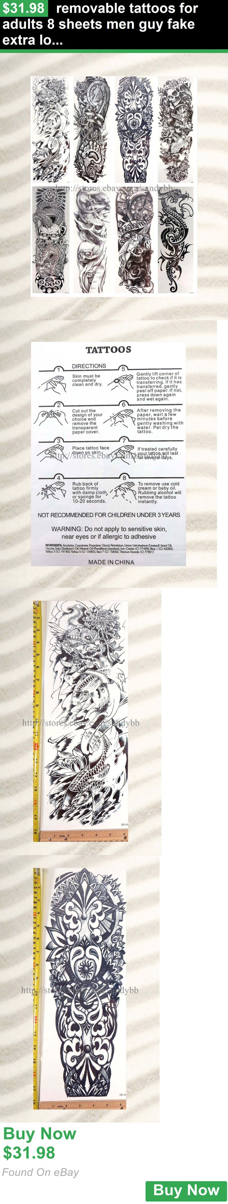 Temporary Tattoos 33919: Removable Tattoos For Adults 8 Sheets Men Guy Fake Extra Long 18 Full Arm BUY IT NOW ONLY: $31.98