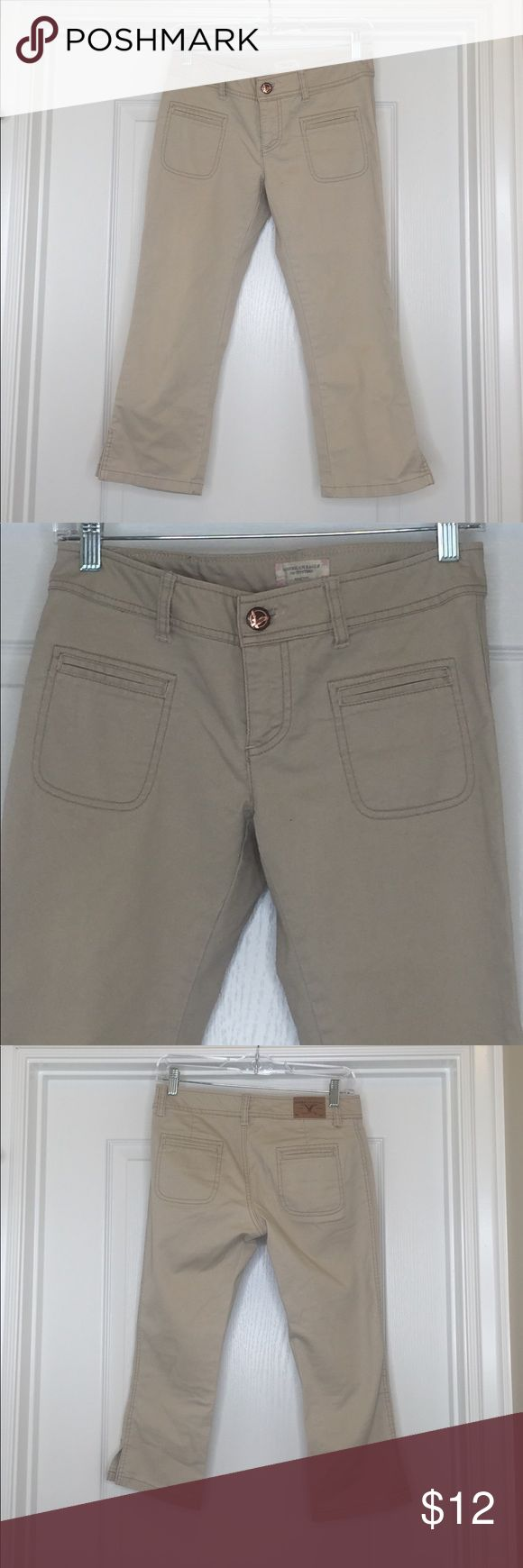 Sleek kaki Capri pants Very slimming, sleek kaki Capri pants American Eagle Outfitters Pants Capris