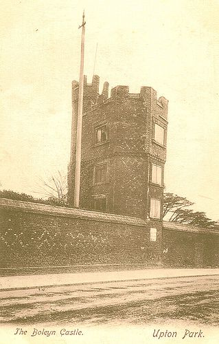 Old picture of the so called Boleyn Castle, in West Ham, London/Essex. The castle was alleged to have belonged to the Boleyn family and was in a very convenient location for travelling between London and Rochford Hall, and further afield. This picture shows a portion of the decorated outer wall and a gatehouse or watchtower - the house stood further back from the road. The site is now the West Ham football ground, Upton Park.