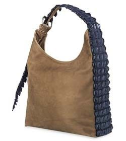 """Chimpel """"VICKY"""" Crocodile leather Slouch Handbag. Soft leather with crocodile leather gusset & nickel roller buckle. Cape Town, South Africa"""