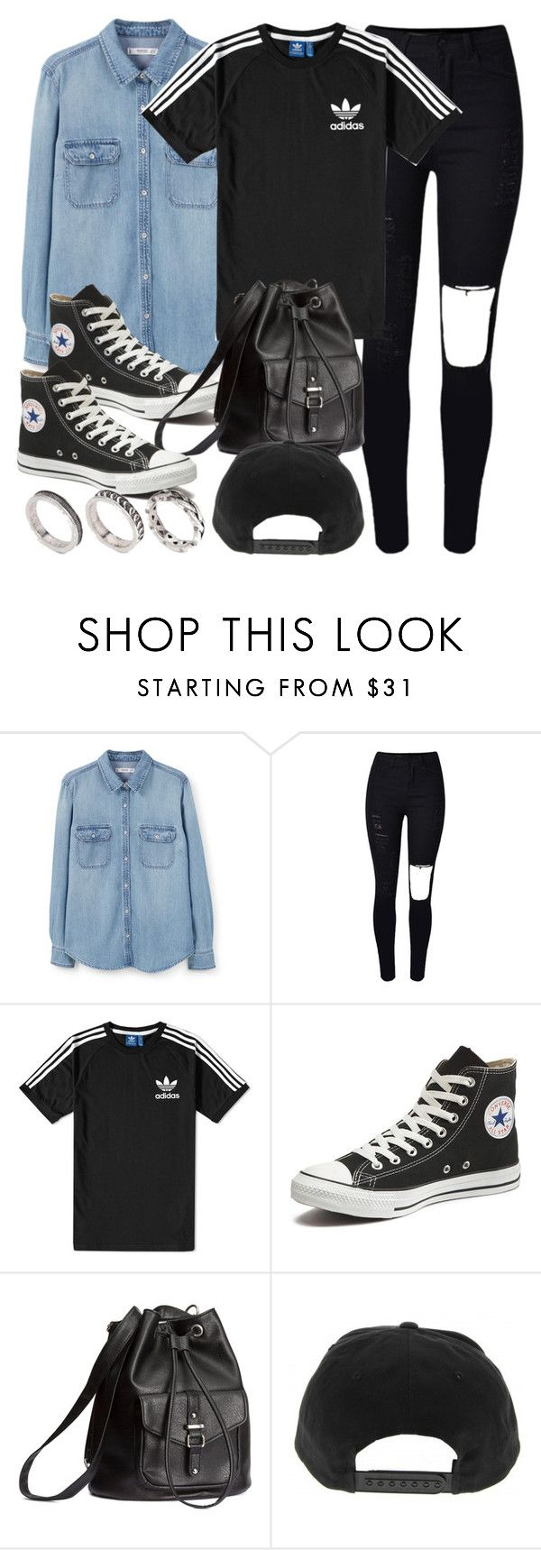 """""""Style #11591"""" by vany-alvarado ❤ liked on Polyvore featuring MANGO, adidas, Converse, H&M and ASOS"""