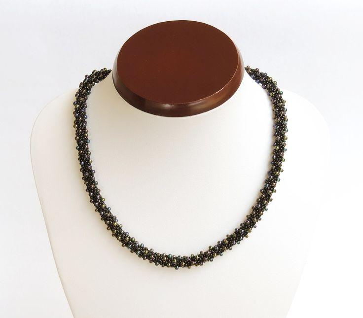 Black and AB Preciosa bead crochet rope necklace  - Colier cu margele AB si negre Preciosa - colectia Wild Berries (180 LEI la AndiBede.breslo.ro)