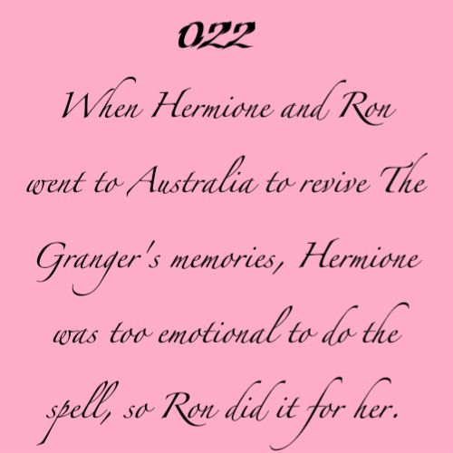 Headcanon: When Hermione and Ron went to Australia to revive the Granger's memories, Hermione was too emotional to do the spell, so Ron did it for her