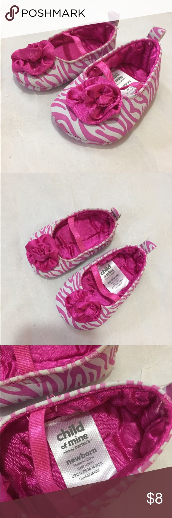 Carter's newborn pink zebra shoes Carter's newborn girl's pink zebra shoes Carter's Shoes Baby & Walker