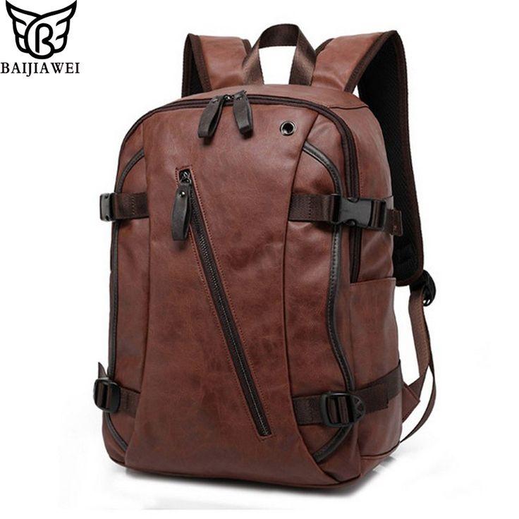 BAIJIAWEI Men PU Patent Leather Backpacks Men's Fashion Backpack