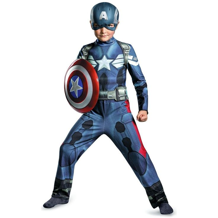 Captain America Costume Kids Superhero Outfit Halloween Fancy Dress #Disguise