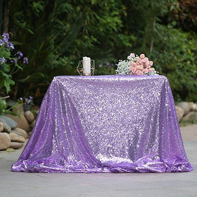 Partydelight Lavender Sequin Wedding Tablecloth 132 By 132 Inch