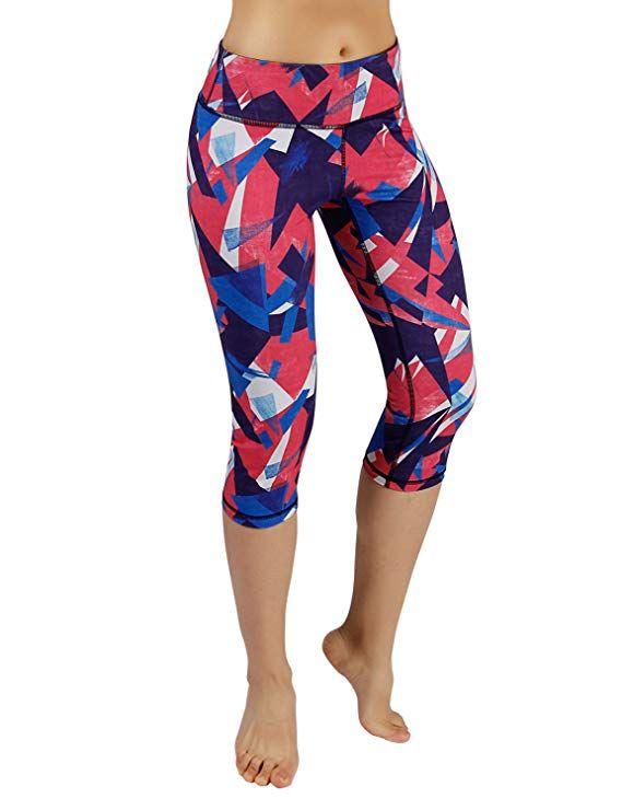 5e26bef6c2c35 Amazon.com: ODODOS High Waist Out Pocket Printed Yoga Capris Pants Tummy  Control Workout Running 4 Way Stretch Yoga Capris Leggings: Clothing