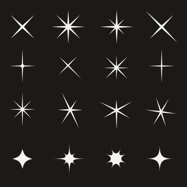 Twinkling Star Set Bright On Black Vector Art Illustration Star Illustration Vector Art Illustration Line Art Drawings