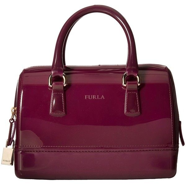 Furla Candy Mini Satchel found on Polyvore featuring bags, handbags, purses, aubergine, structured satchel handbag, furla satchel, structured handbag, colorful purses and mini satchel handbags