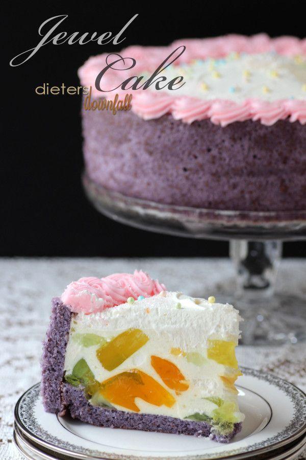 Beautiful Jewel Cake inspired from SprinkleBakes - Purple Jaconde Sponge Cake, pineapple sweetened cream, and jello . from #dietersdownfall.com