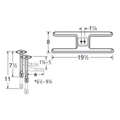 Heavy Duty BBQ Parts 10602-72401 Stainless Steel Burner with Universal Venturi Set for Arkla/Broil-Mate/Charmglow Brand Gas Grills