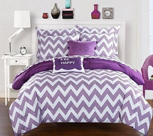 Girls Purple Chevron Comforter Full Set Stylish Zig Zag pinch pleated Bedding Chic Pintuck Zigzag Striped Themed Girly Pleat Pin Tuck Pattern Plum