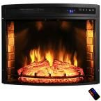 AKDY 28 in. Freestanding Electric Fireplace Insert Heater in Black with Curved Tempered Glass and Remote Control HD-FP0003 at The Home Depot - Mobile