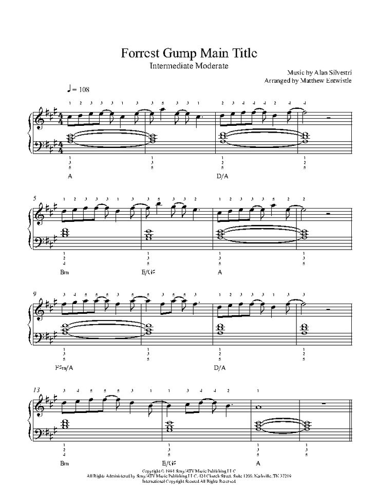 Forrest Gump Main Title by Alan Silvestri Piano Sheet Music | Intermediate Level