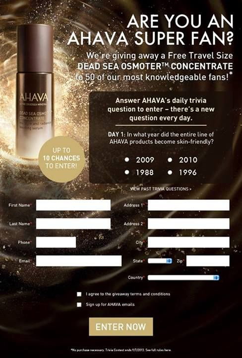 Have you met AHAVA's NEW Dead Sea Osmoter Concentrate? Discover AHAVA's most innovative skin skin care product and enter for the chance to win it!