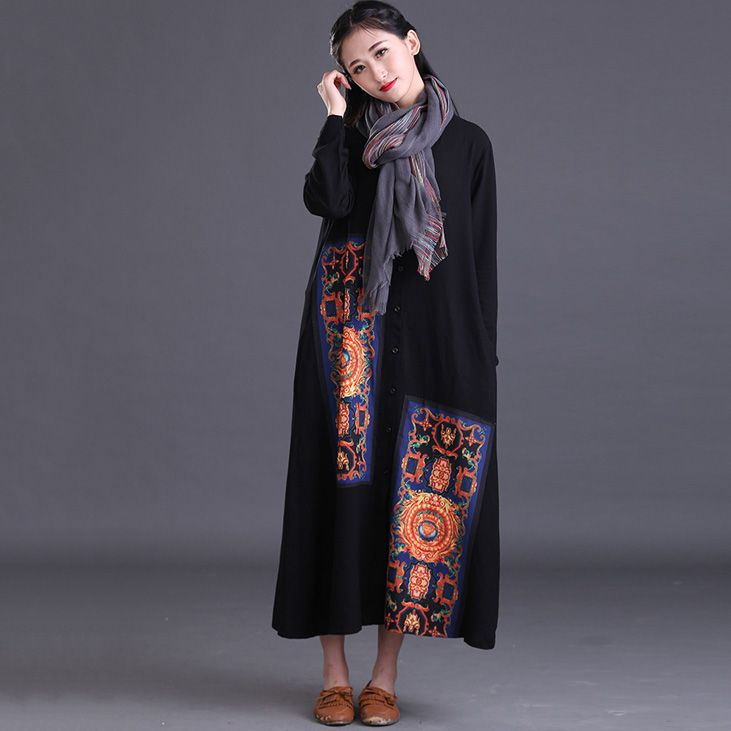 2016 New Fashion Long Sleeve Elegant Embroidery Cotton Linen Dress Vintage Chinese Style Spring autumn Plus Size Women Dresses -in Dresses from Women's Clothing & Accessories on Aliexpress.com | Alibaba Group