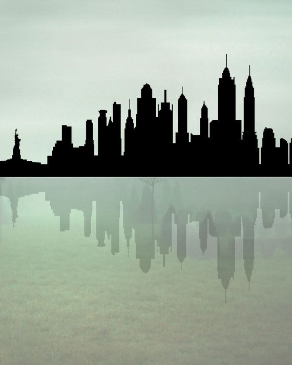 New York Skyline Printable Art New York Silhouette by exileprints