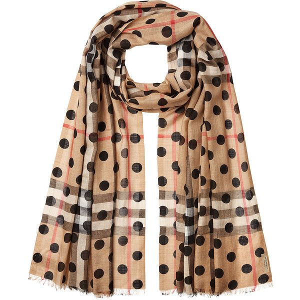 Burberry Dot Printed Check Scarf ($370) ❤ liked on Polyvore featuring accessories, scarves, multicolored, burberry shawl, burberry, polka dot scarves, colorful scarves and burberry scarves