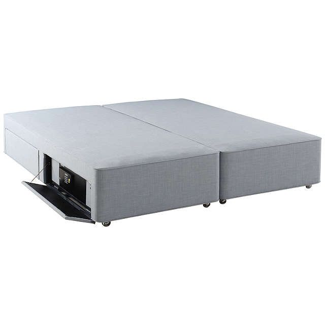 BuyHypnos Firm Edge 4 Drawer Divan Storage Bed with Laptop Safe, Double, Linoso Sky Online at johnlewis.com