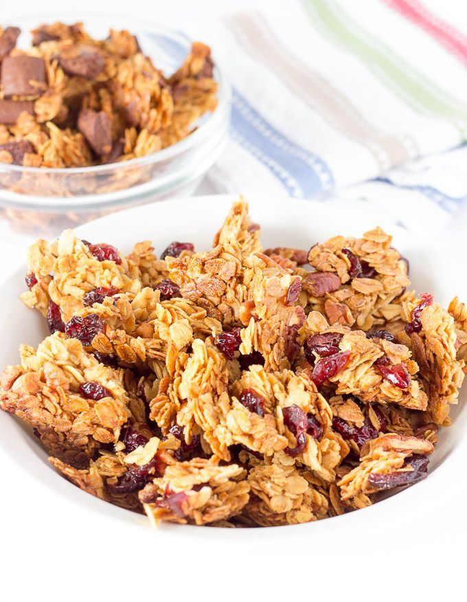 This homemade healthy granola recipe is simple to make and produces large chunks. You can add any of your favorite granola flavors to this basic recipe.